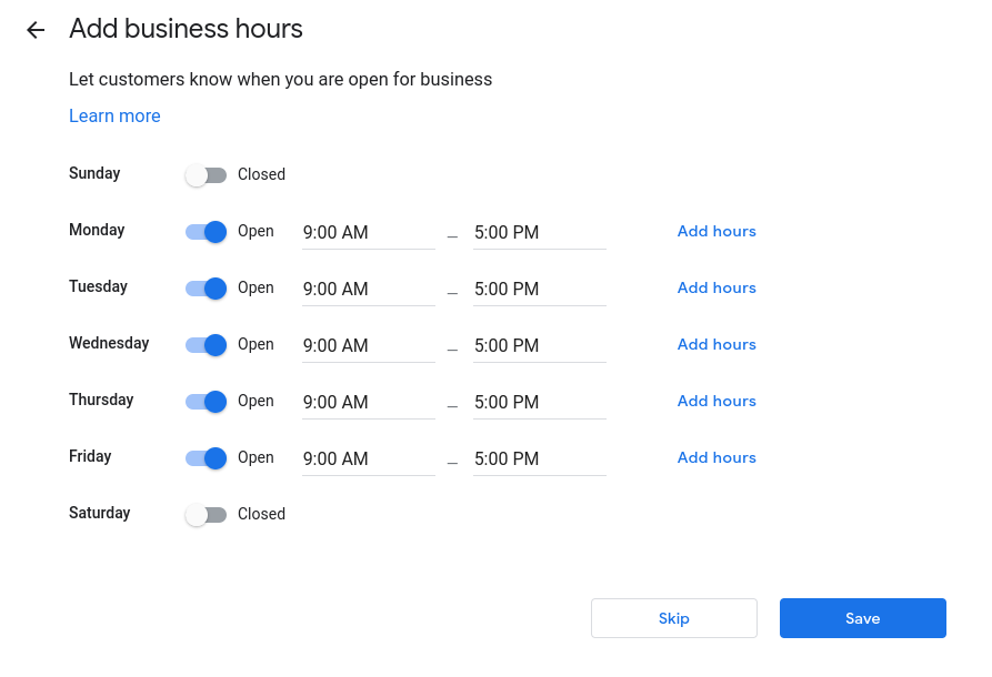 How to set up Google My Business- set your business hours.