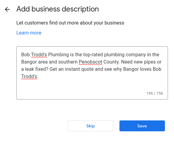 How to set up Google My Business- write your business description.