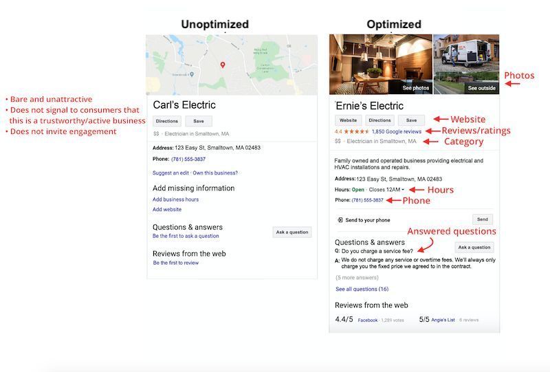 Optimize your Google My Business listing for local SEO; comparison screenshots.
