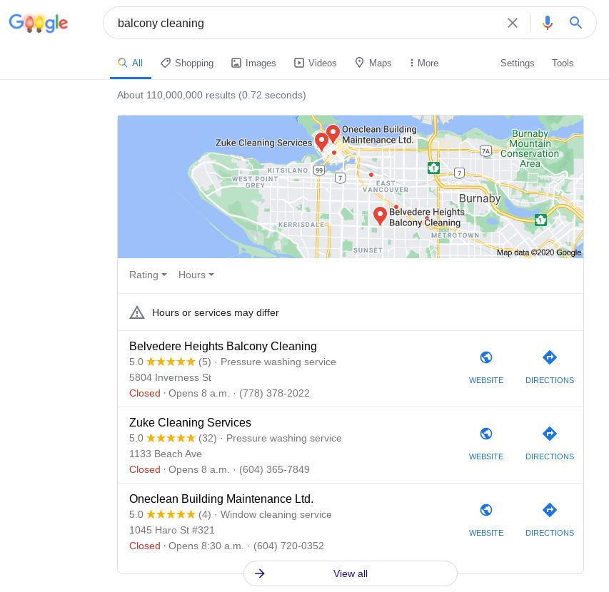 Screenshot of Local 3-Pack for how to optimize Google My Business with keywords in business names.