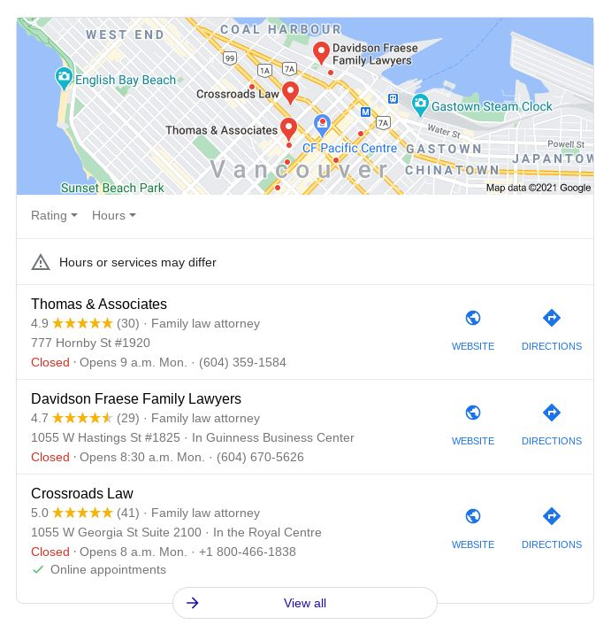 Get more Google reviews for lawyers and law firms to appear in the Google Local 3-Pack.