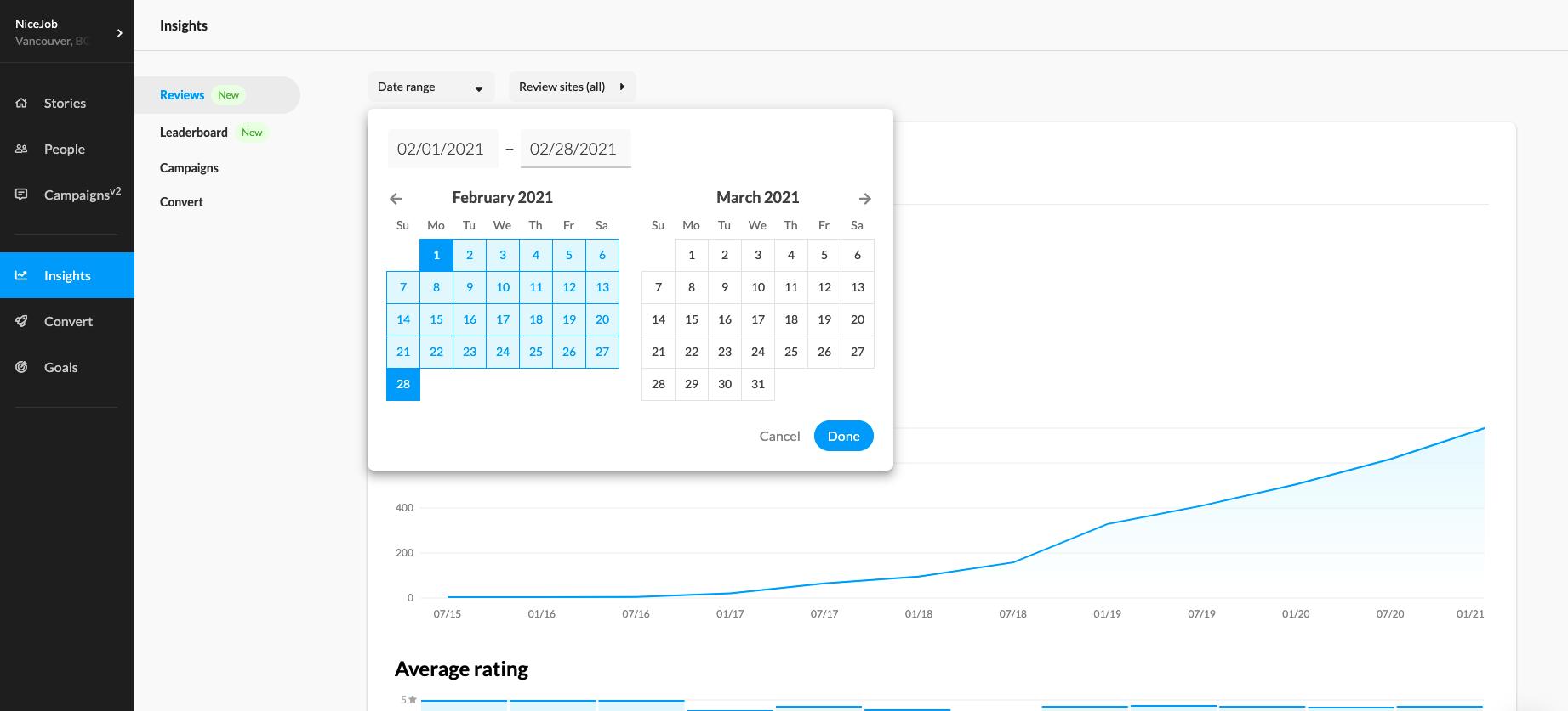 Screen shot of NiceJob app, setting custom review insights time frame