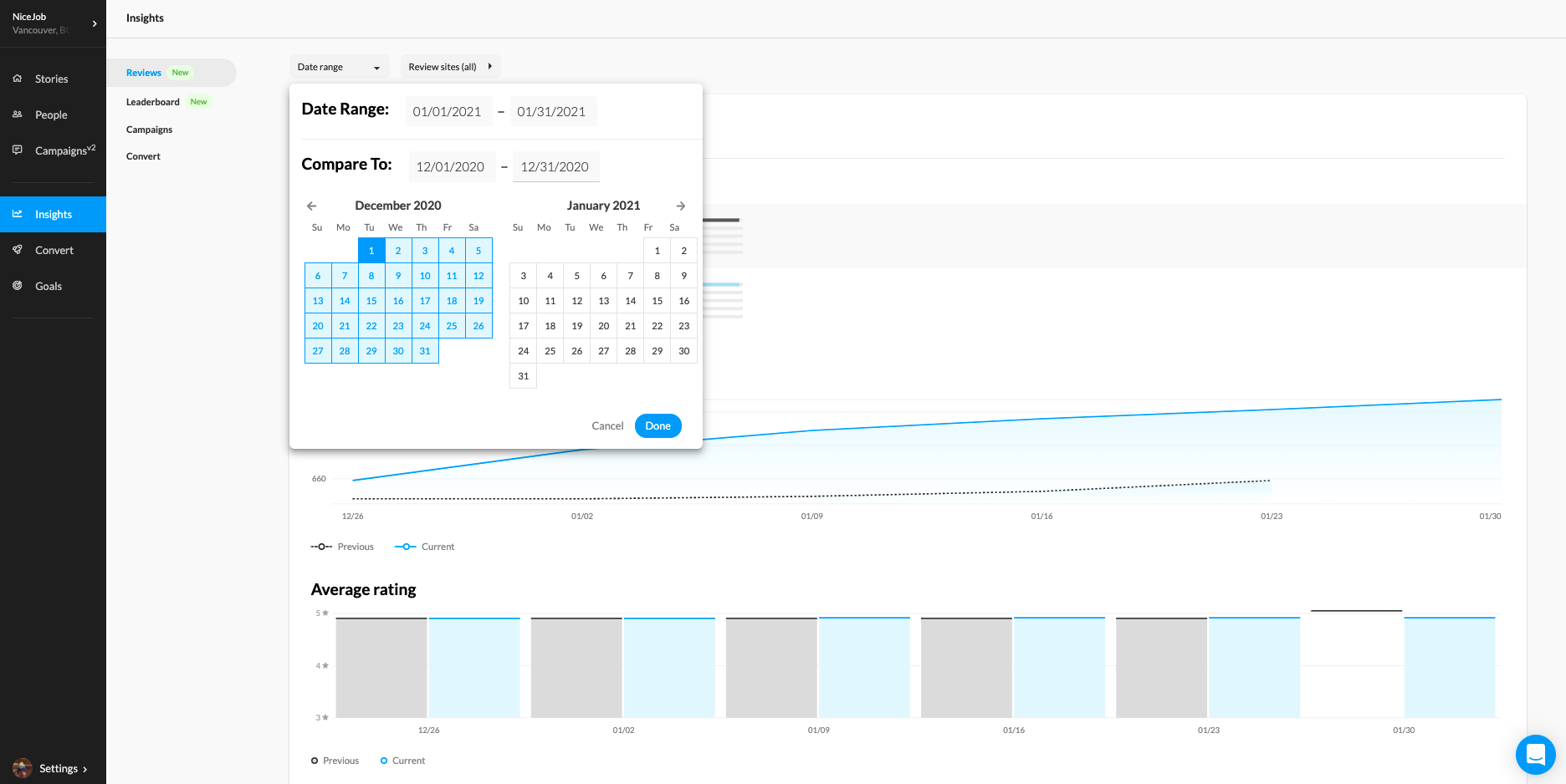 Screen shot of NiceJob app, compare time frame in review insights