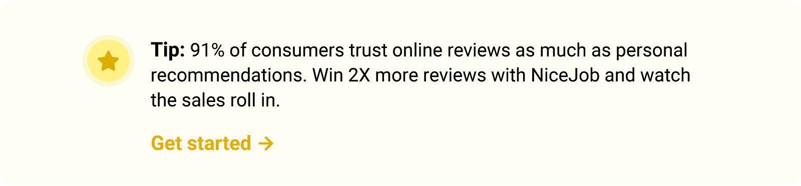 Get more customer reviews using NiceJob's reputation marketing software.