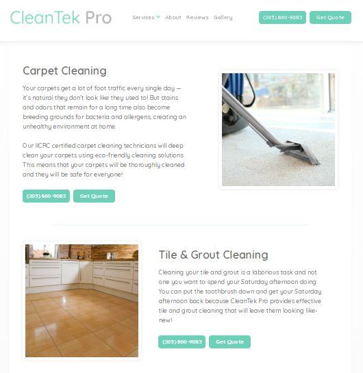 CleanTek Pro's carpet cleaning website.