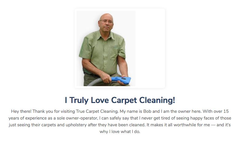 True Clean's carpet cleaning website with the owner.