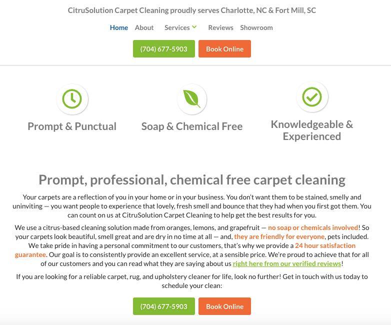 CitruSolution's carpet cleaning website.