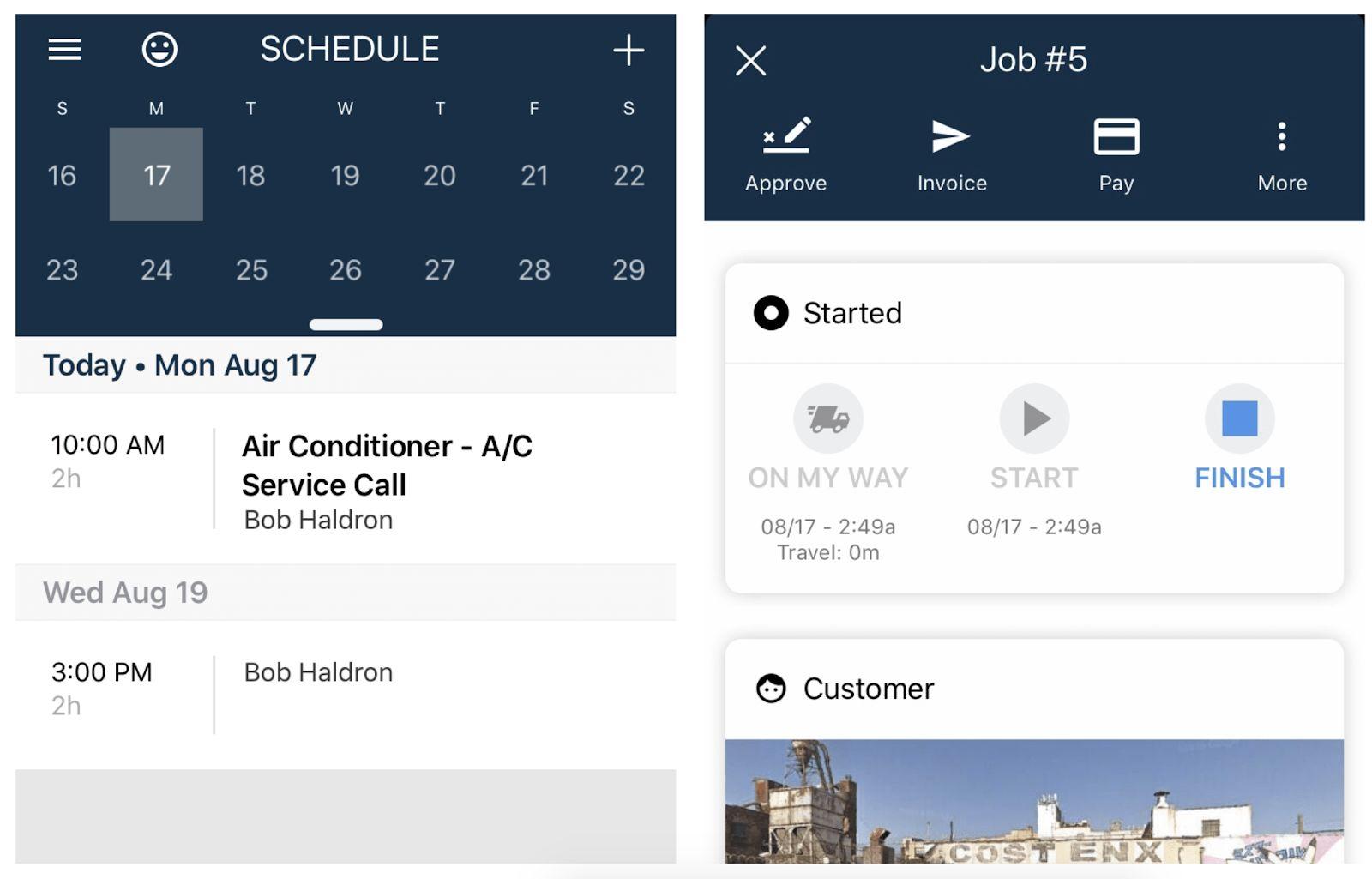 A screenshot of Housecall Pro's field service app.