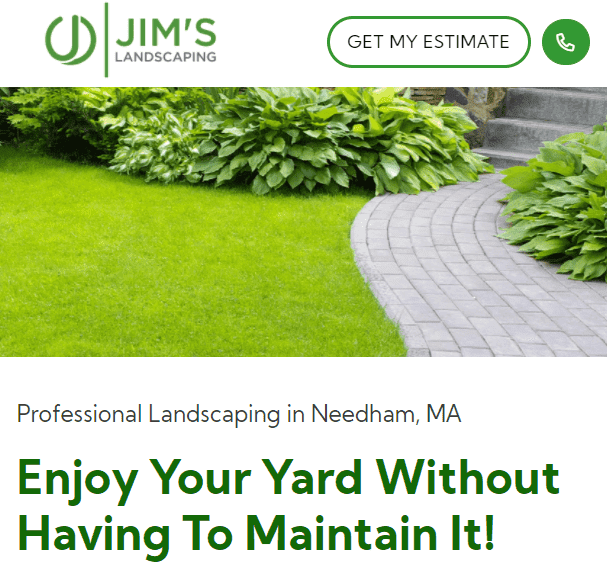 Strong copy for more sales on a landscaping website.