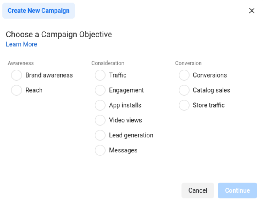 Create a campaign and set a goal for Facebook Messenger ads.