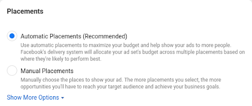 Choose ad placements for Facebook Messenger ads.