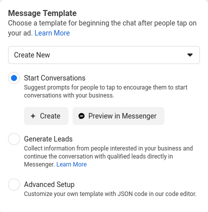Create auto-reply templates for ads in Facebook Messenger.