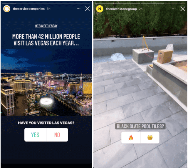 Examples of polls used in Instagram Stories for business.