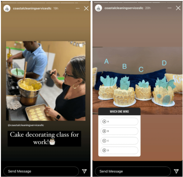Examples of showing off tram-bonding activities in Instagram Stories for business.