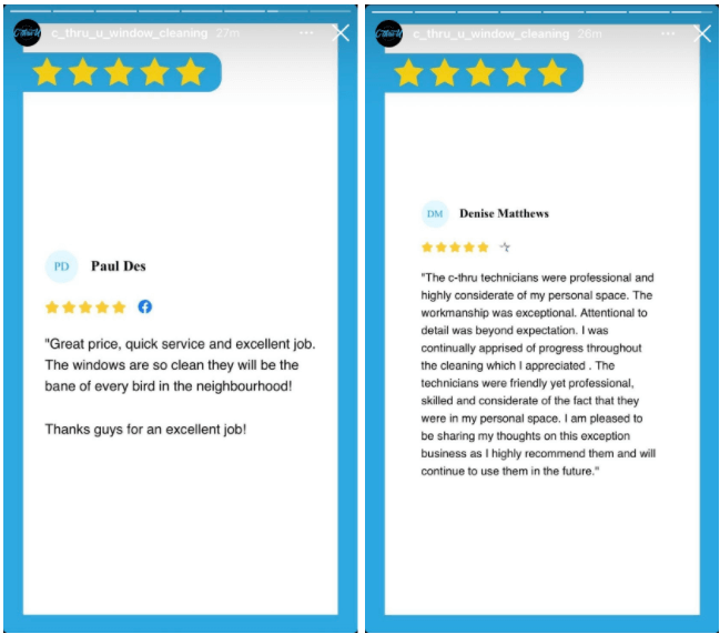 Examples of customer reviews in Instagram Stories for business.