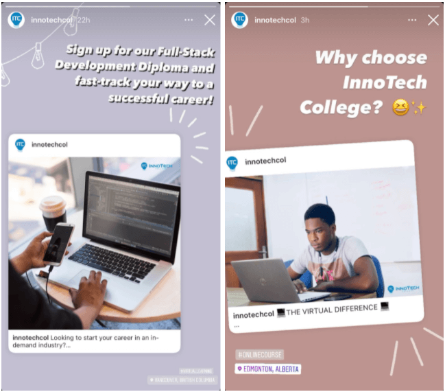 Examples of reusing Instagram posts in Instagram Stories for business.