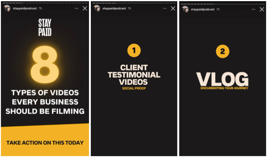 Example of a podcast sharing education content on Instagram Stories for Business.