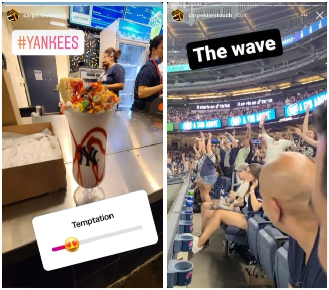 Example of a business having fun at a baseball game on Instagram Stories.