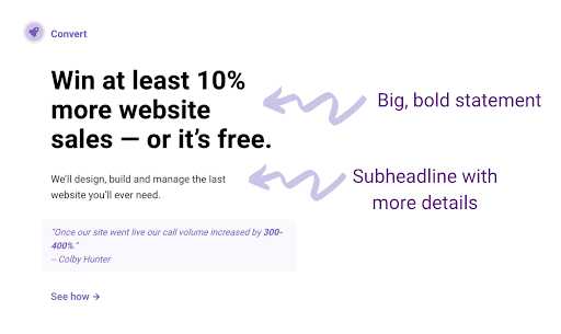 Examples of how to write headlines to create a small business website.