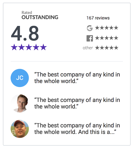Example of a Reviews widget to share social proof to create a small business website.