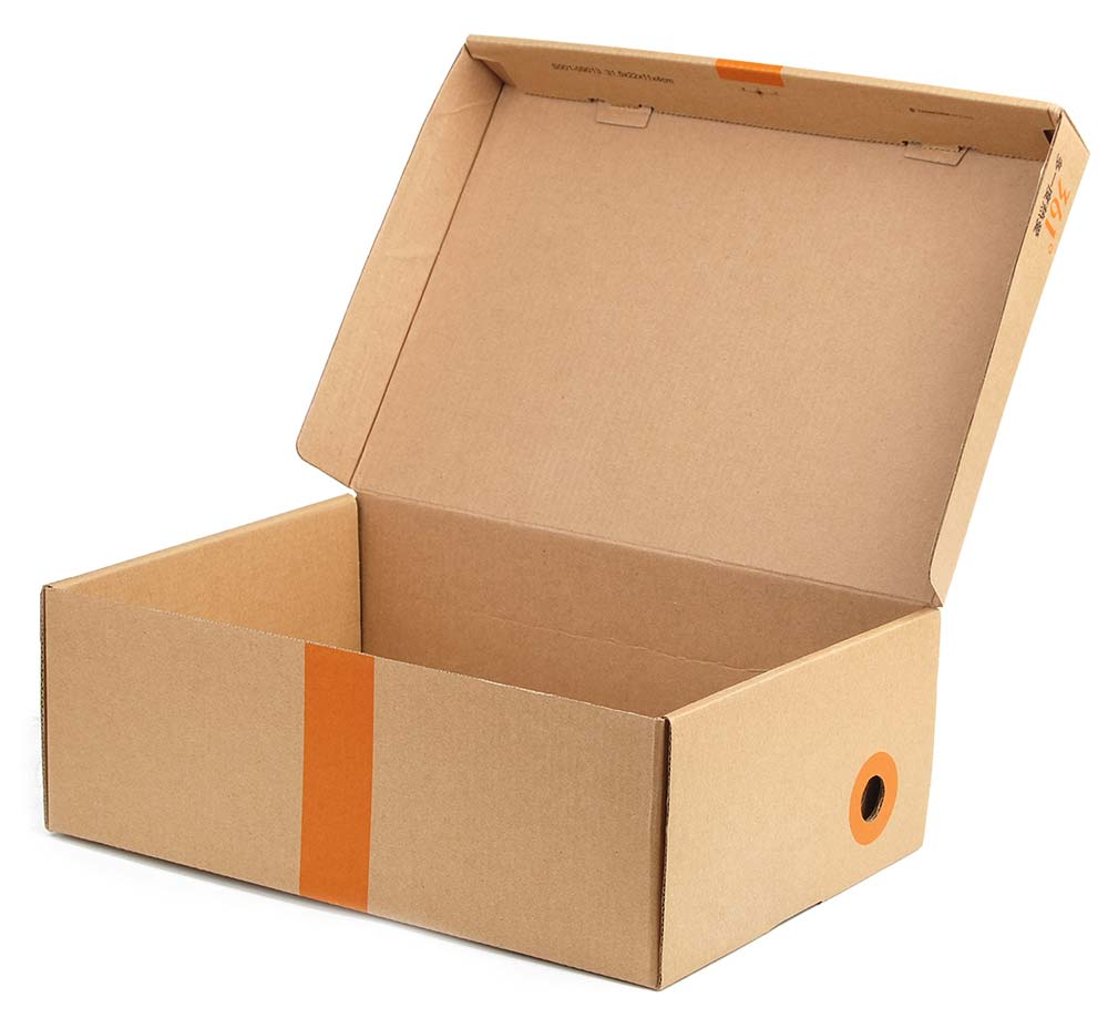 A brown box with an orange stripe sits with it's lid flipped open.