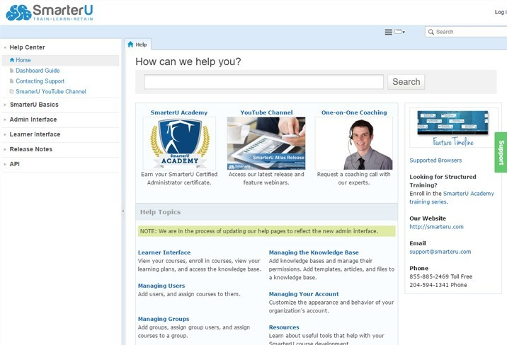 Screenshot of the SmarterU online help system home page
