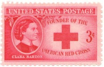 "Clara Barton commemorative stamp showing her portrait profile, her name, a red cross and the text ""Founder of the American Red Cross."""