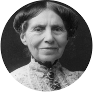 Black and white portrait of an elderly Clara Barton.