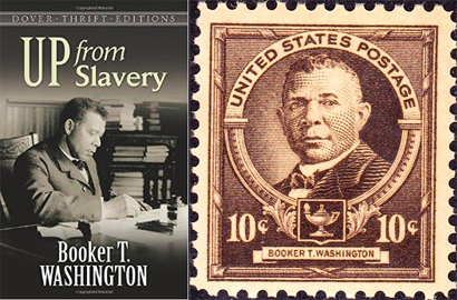 Left: the cover of Booker T. Washington's autobiography; Right: commemorative stamp featuring his portrait.