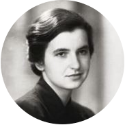 A black and white portrait of a young Rosalind Franklin