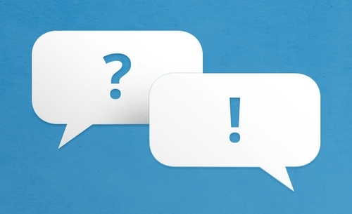 Two speech bubbles on a blue background; one has a question mark, the other has an exclamation mark.