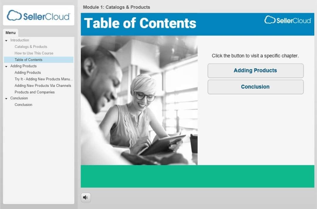 Screenshot of a SellerCloud SCORM course.