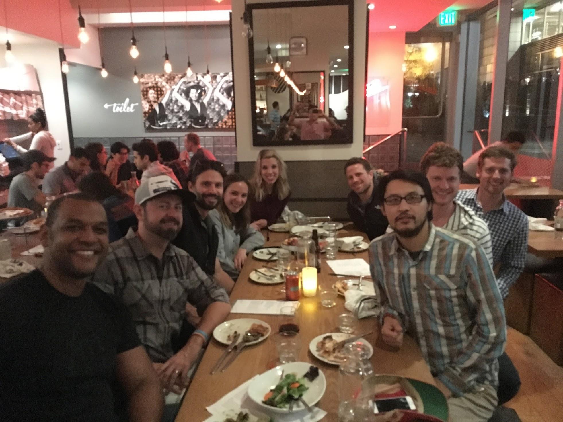 CloudApp team at dinner