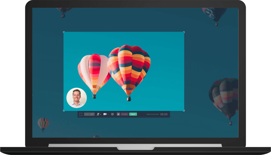 Hot air balloon on a screen recording