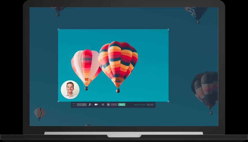 Hot air balloon on a screen recording