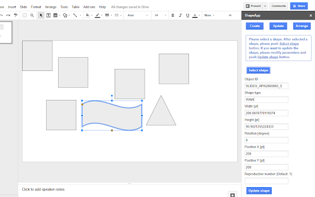 shapeapp google slides add-on