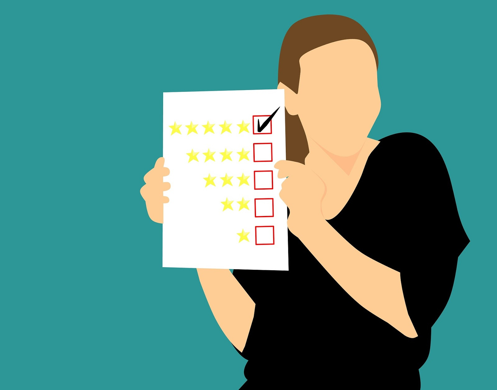Five star customer feedback woman