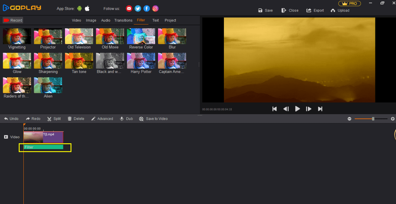Screenshot of the GoPlay video recording software.