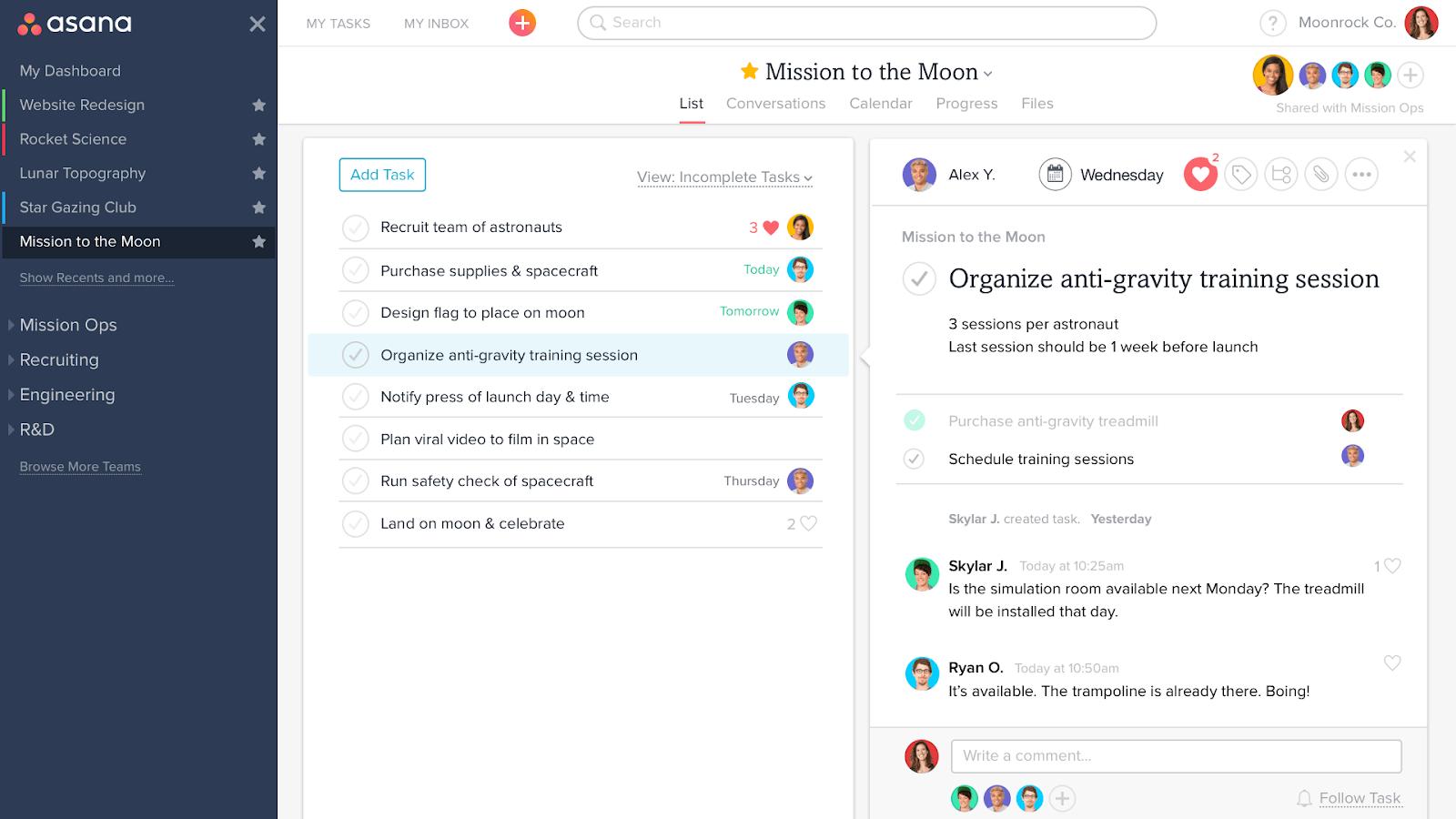 asana project management platform