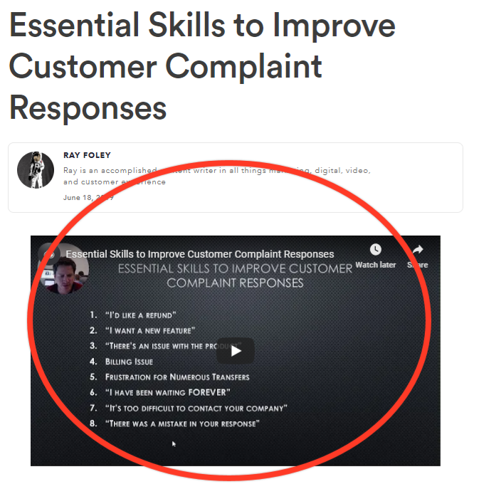 Screenshot of tips slide explaining tips to improve customer complaint responses