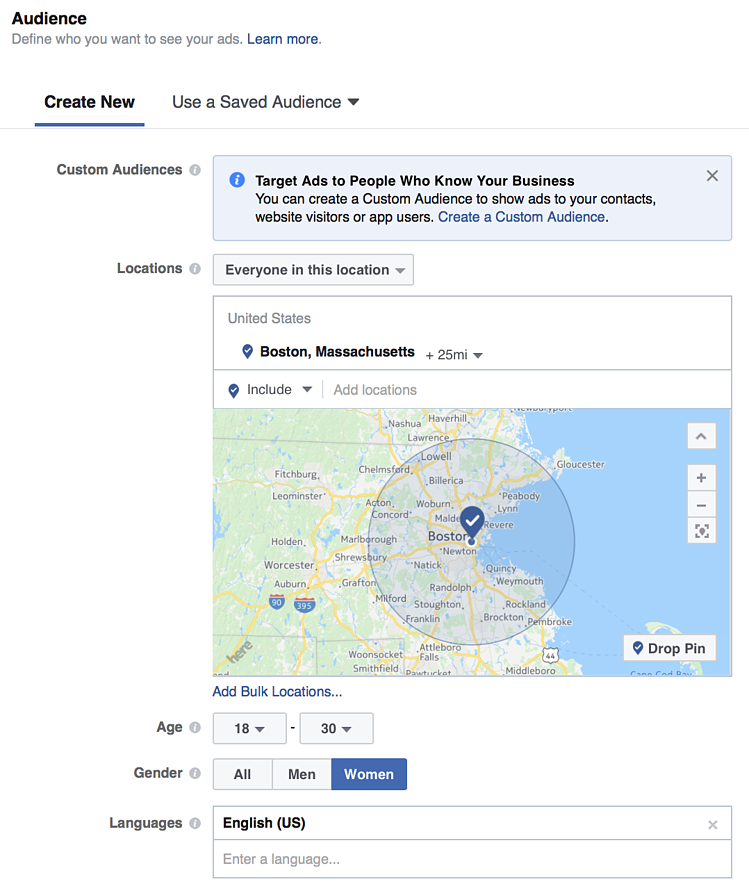 targeting Facebook ads