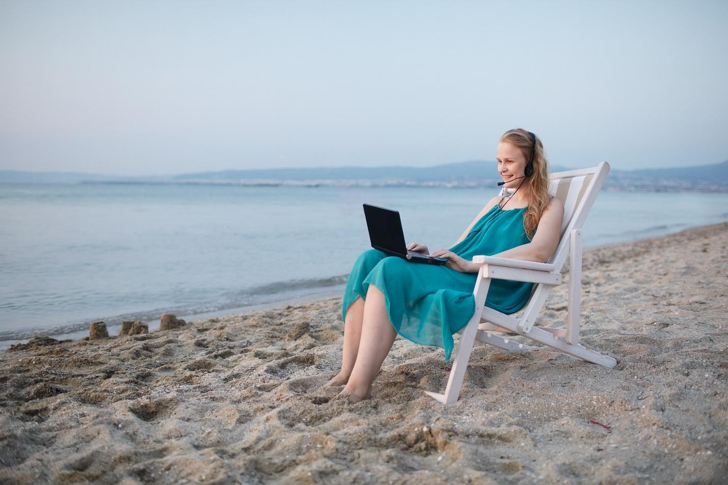 Remote Worker on a Beach