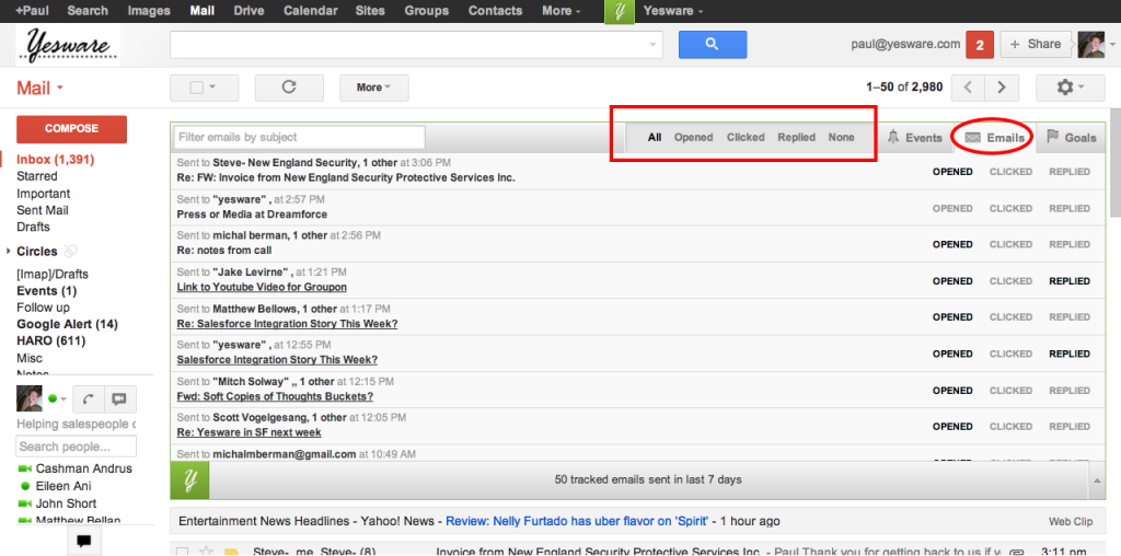 Screenshot of Yesware, a sales productivity tool