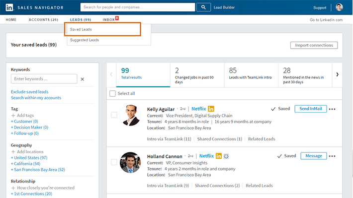Screenshot of LinkedIn Sales Navigator, a sales productivity tool