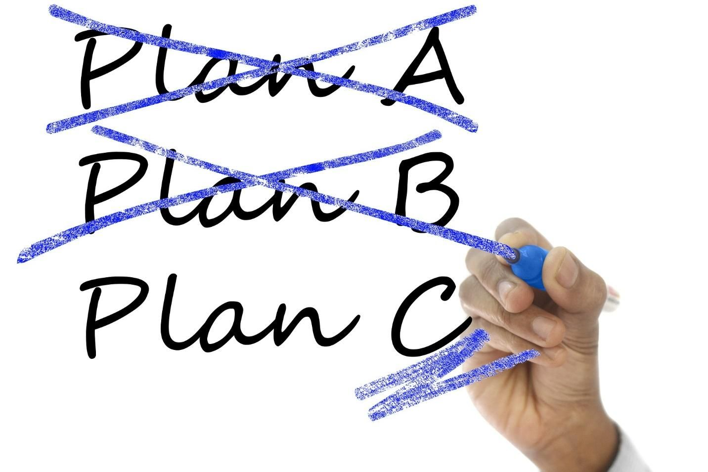 scratching out past plans and adapting to project changes by moving to Plan C