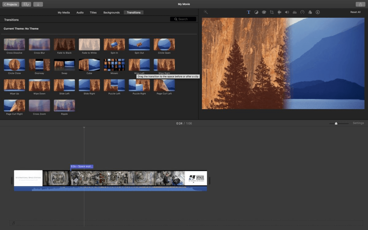 A screenshot of the iMovie software by Apple.
