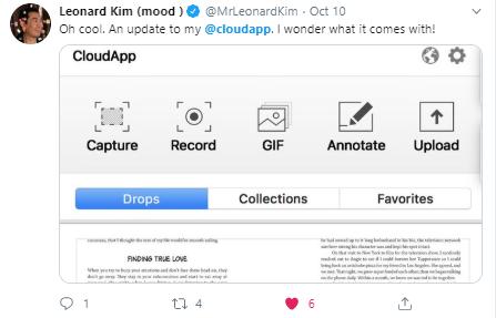 Tweet about CloudApp from Leonard Kim
