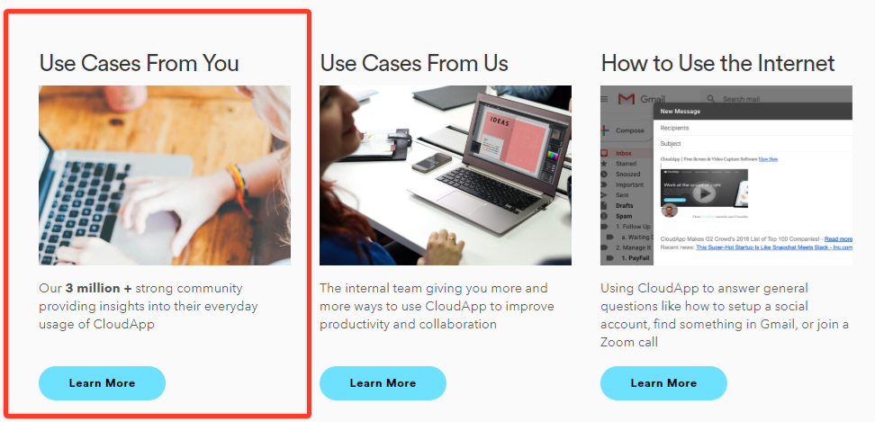 Screenshot of CloudApp Use Cases from You