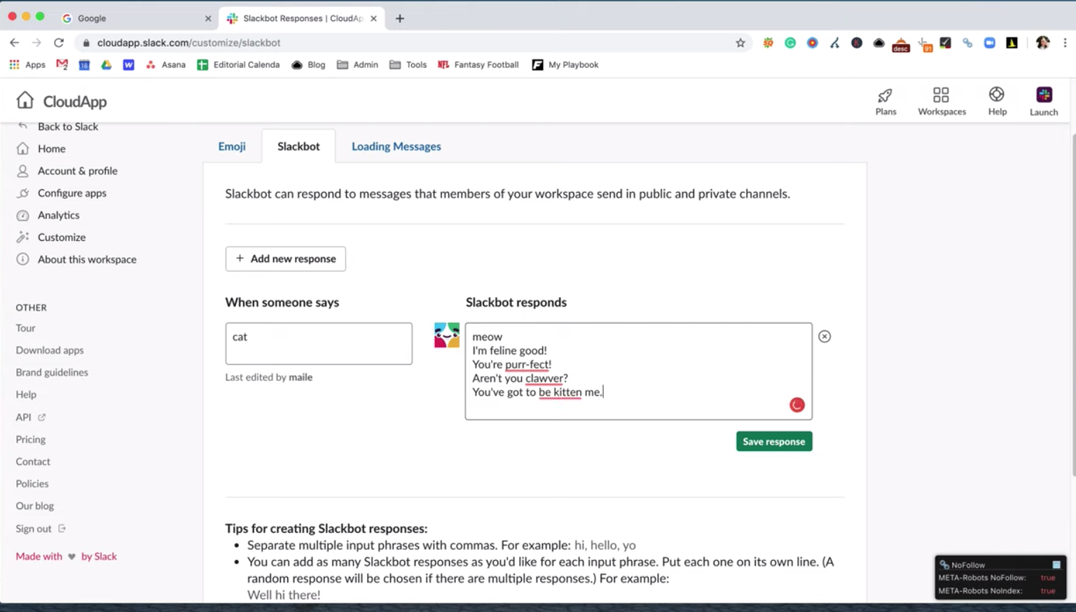 how to create custom Slackbot responses