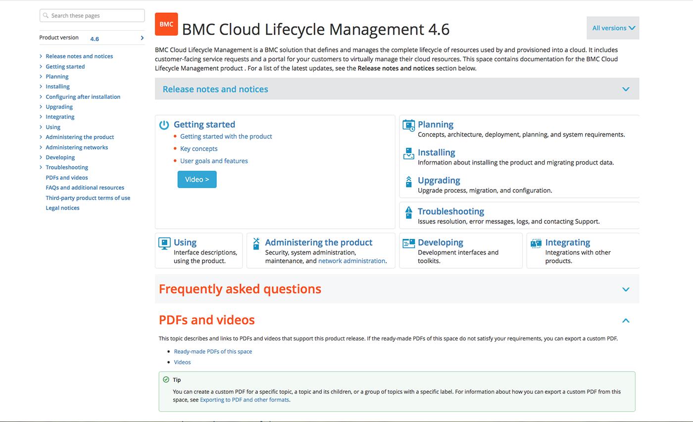 Screenshot of BMC documentation.